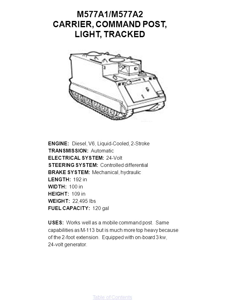 M577A1/M577A2 CARRIER, COMMAND POST, LIGHT, TRACKED
