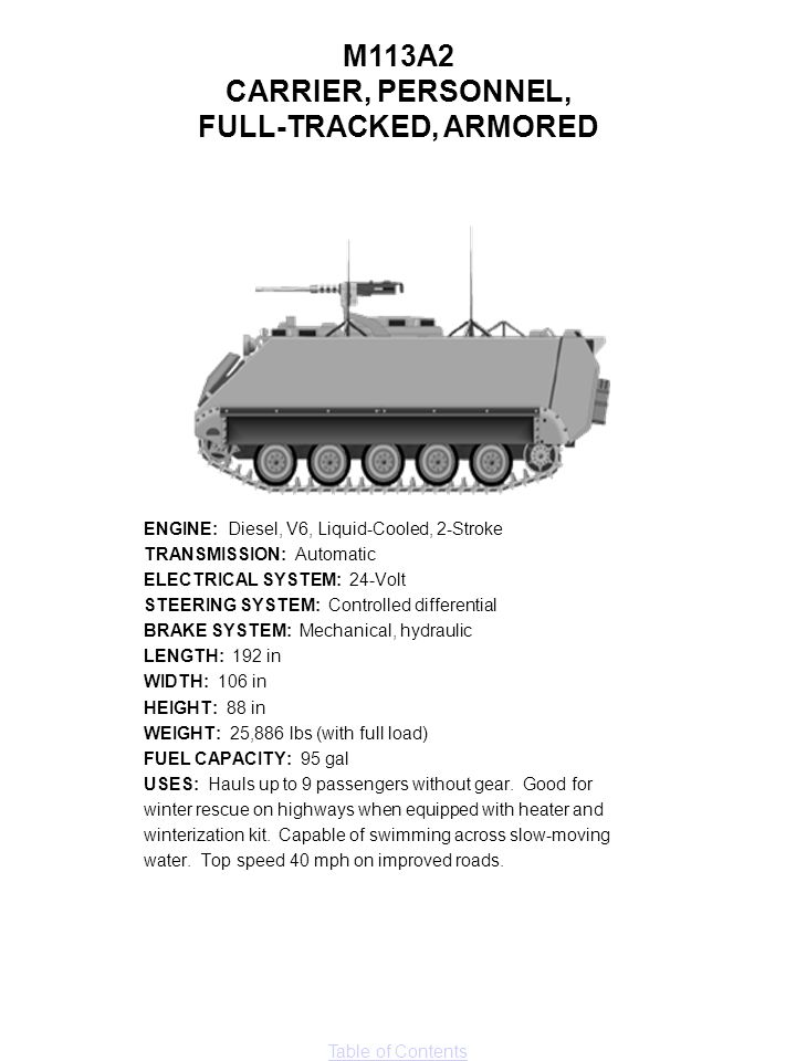 M113A2 CARRIER, PERSONNEL, FULL-TRACKED, ARMORED