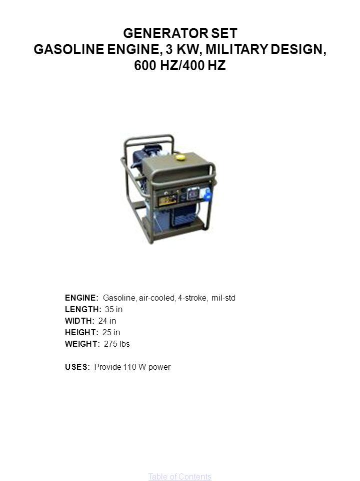 GASOLINE ENGINE, 3 KW, MILITARY DESIGN,