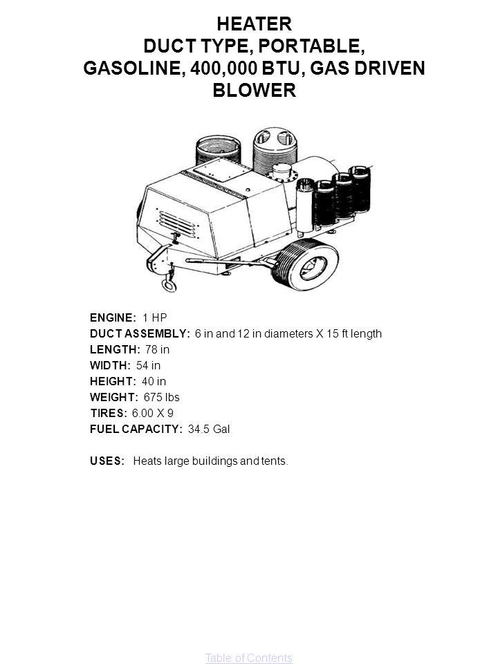 GASOLINE, 400,000 BTU, GAS DRIVEN BLOWER