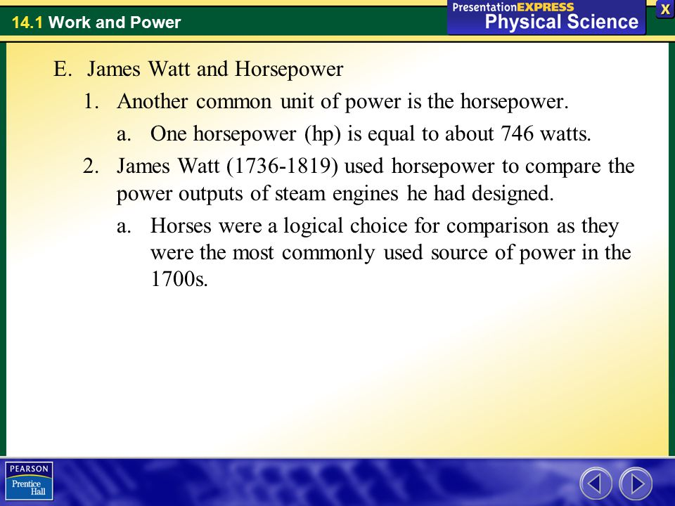 James Watt and Horsepower