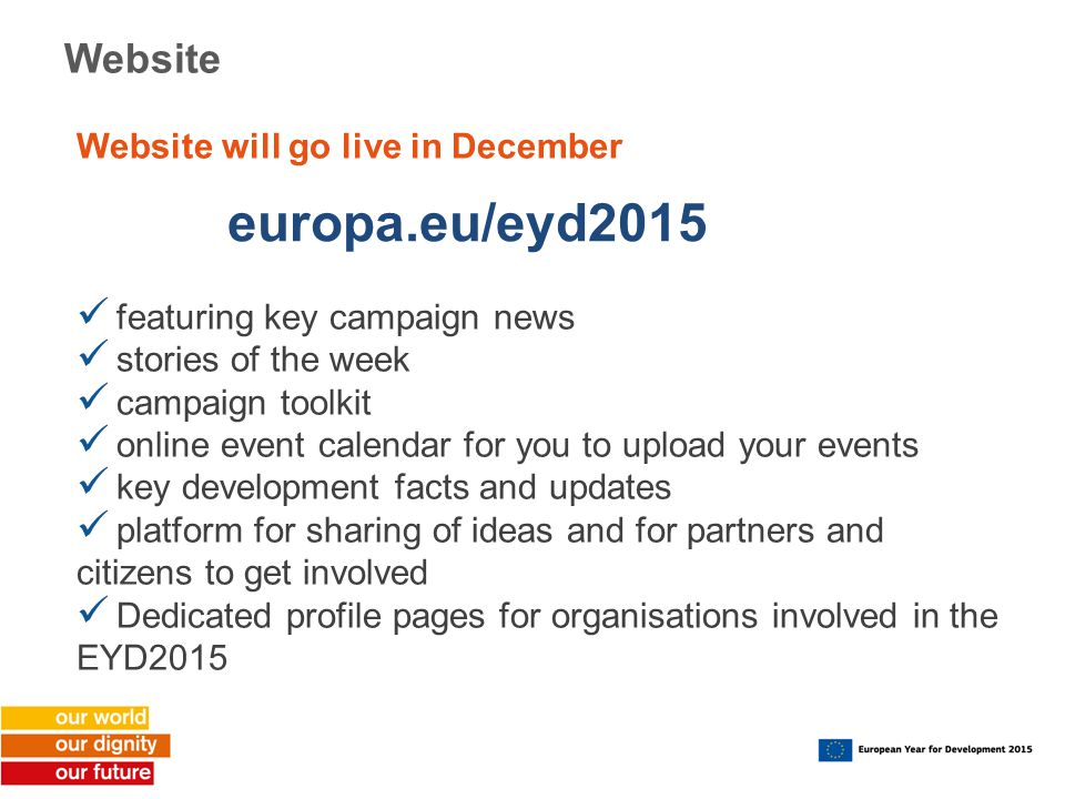 europa.eu/eyd2015 Website Website will go live in December