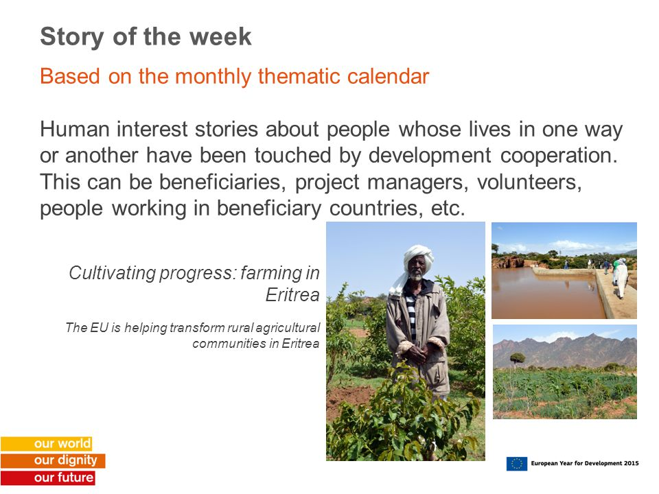 Story of the week Based on the monthly thematic calendar