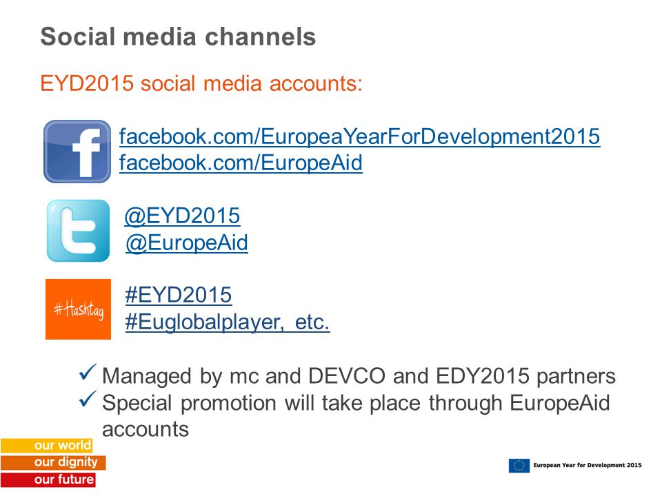 Social media channels EYD2015 social media accounts: