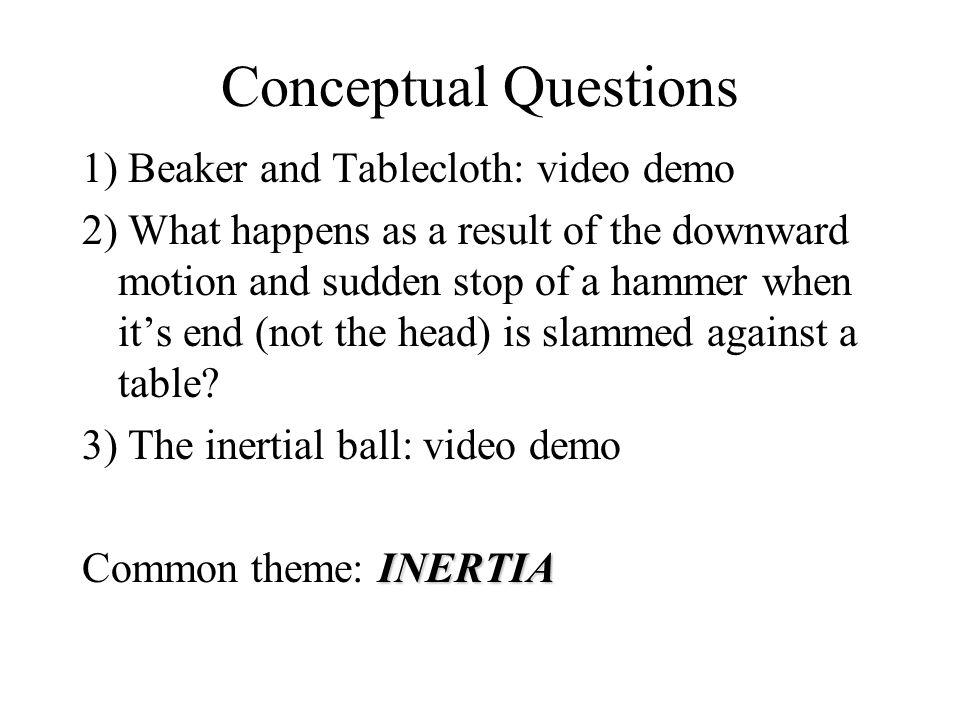 Conceptual Questions 1) Beaker and Tablecloth: video demo