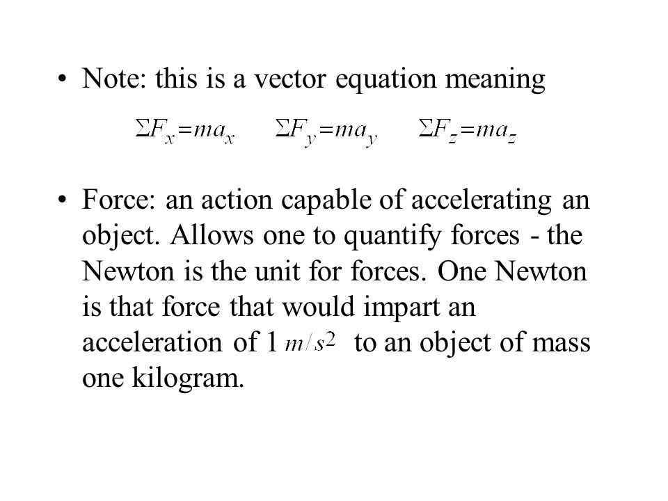 Note: this is a vector equation meaning