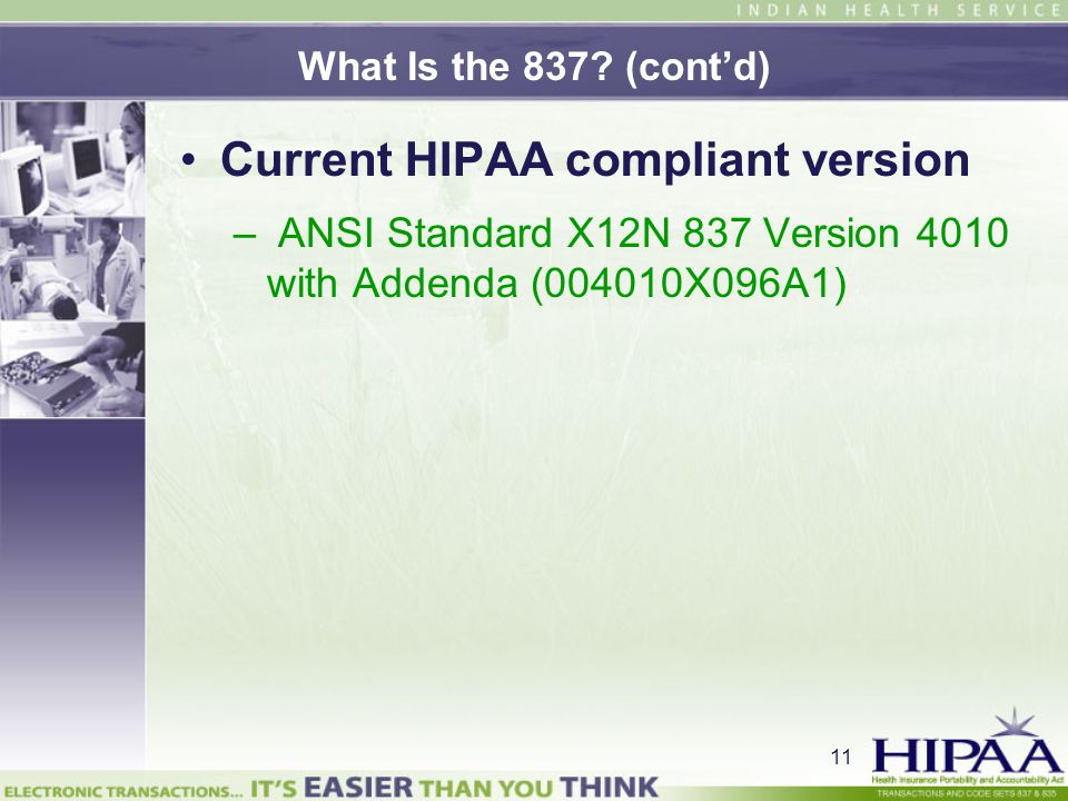 Current HIPAA compliant version