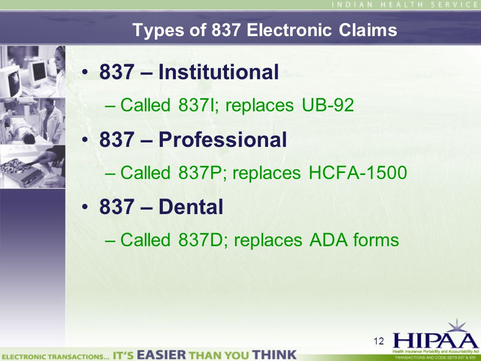 Types of 837 Electronic Claims