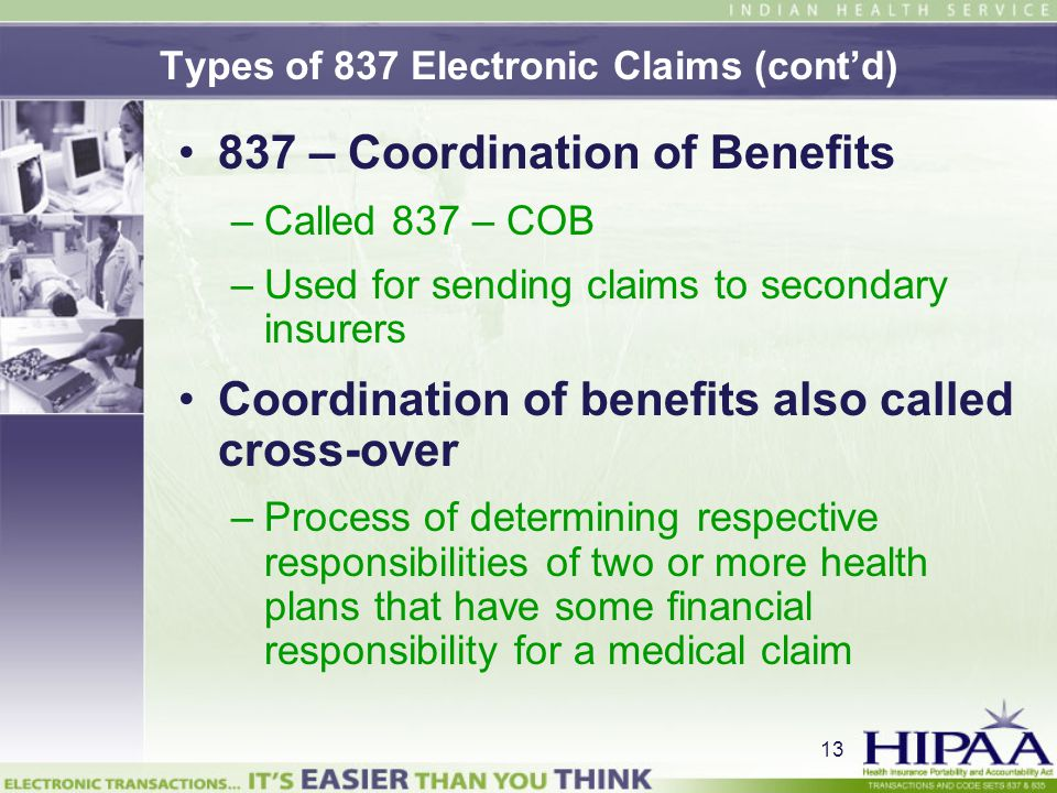 Types of 837 Electronic Claims (cont'd)