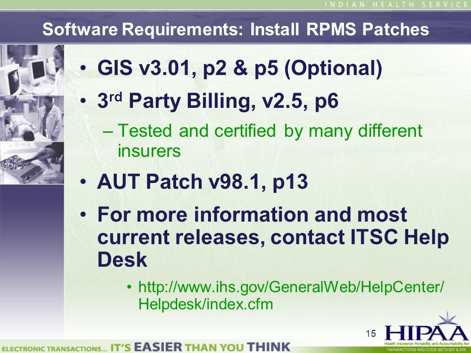 Software Requirements: Install RPMS Patches
