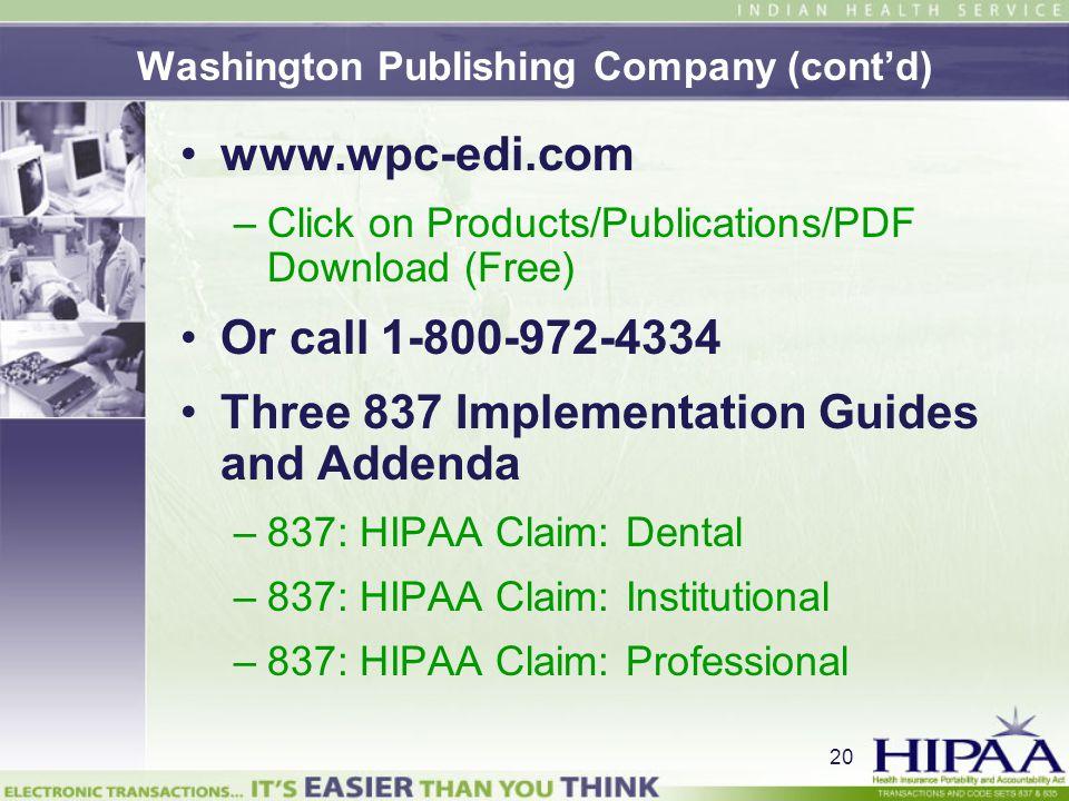 Washington Publishing Company (cont'd)