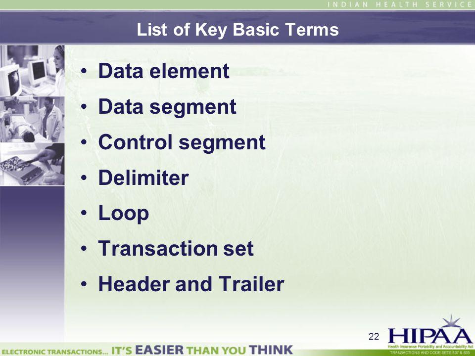 Data element Data segment Control segment Delimiter Loop