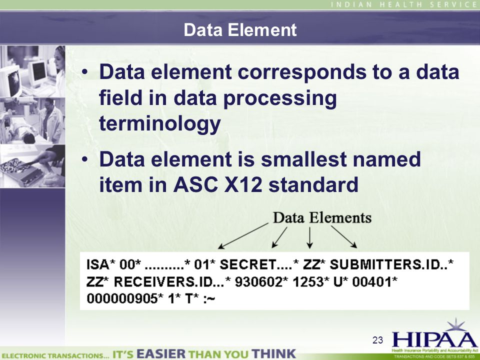 Data element is smallest named item in ASC X12 standard