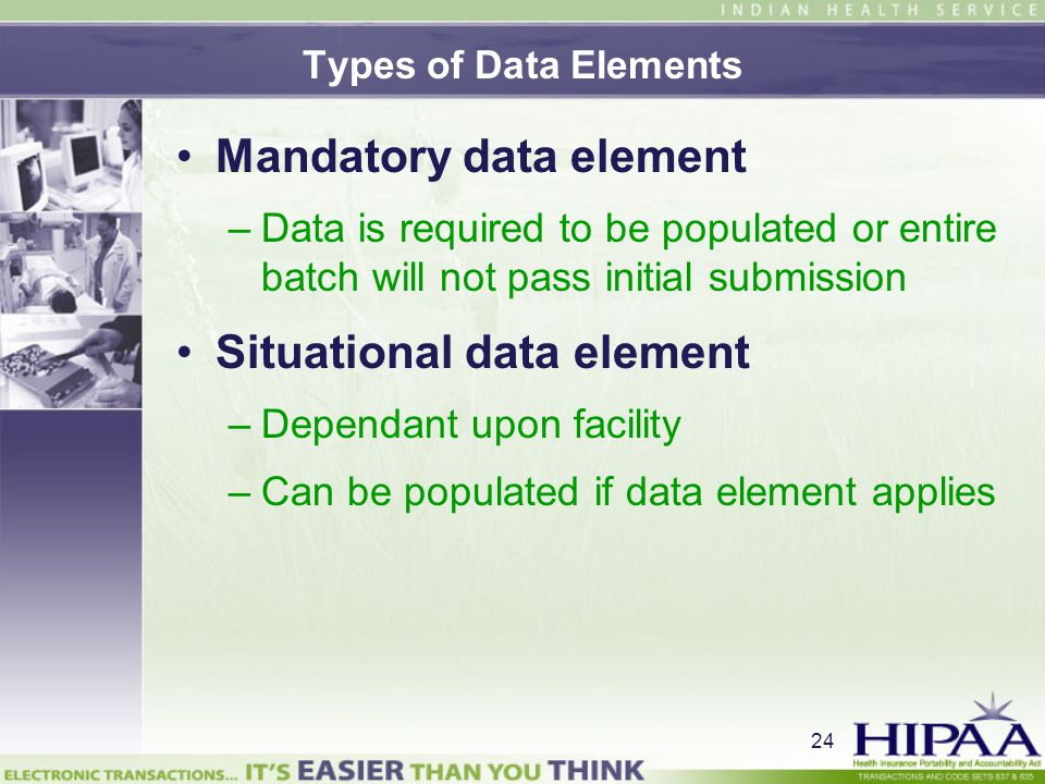 Mandatory data element