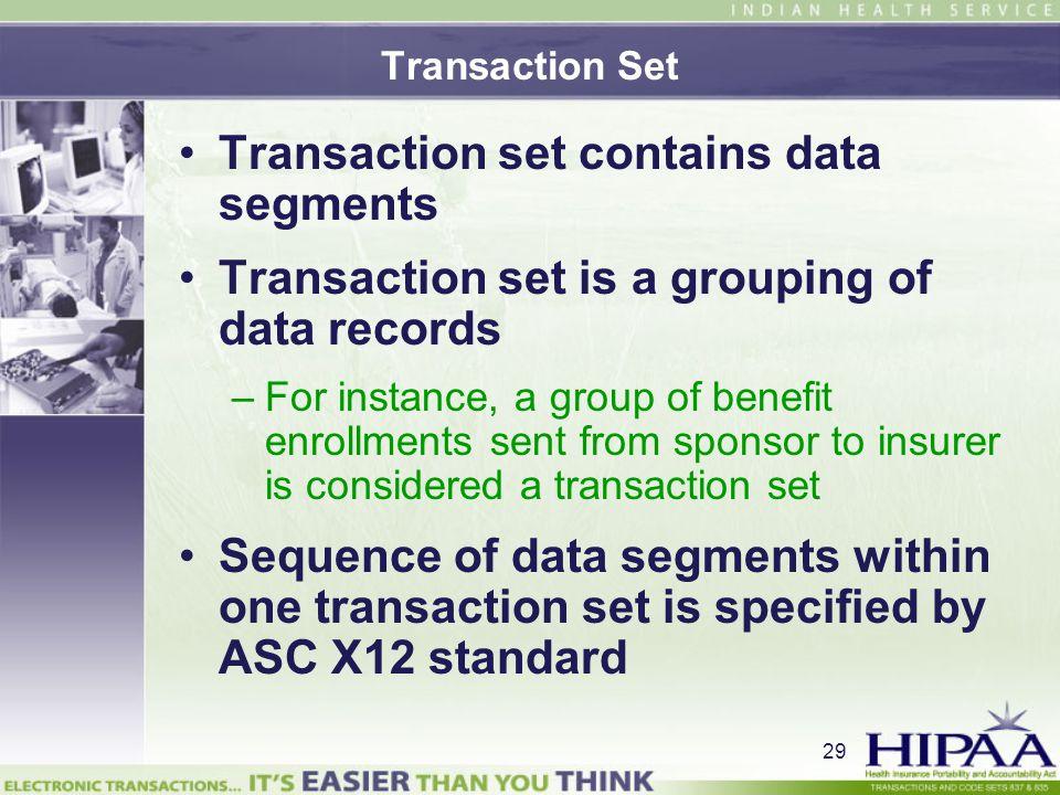 Transaction set contains data segments