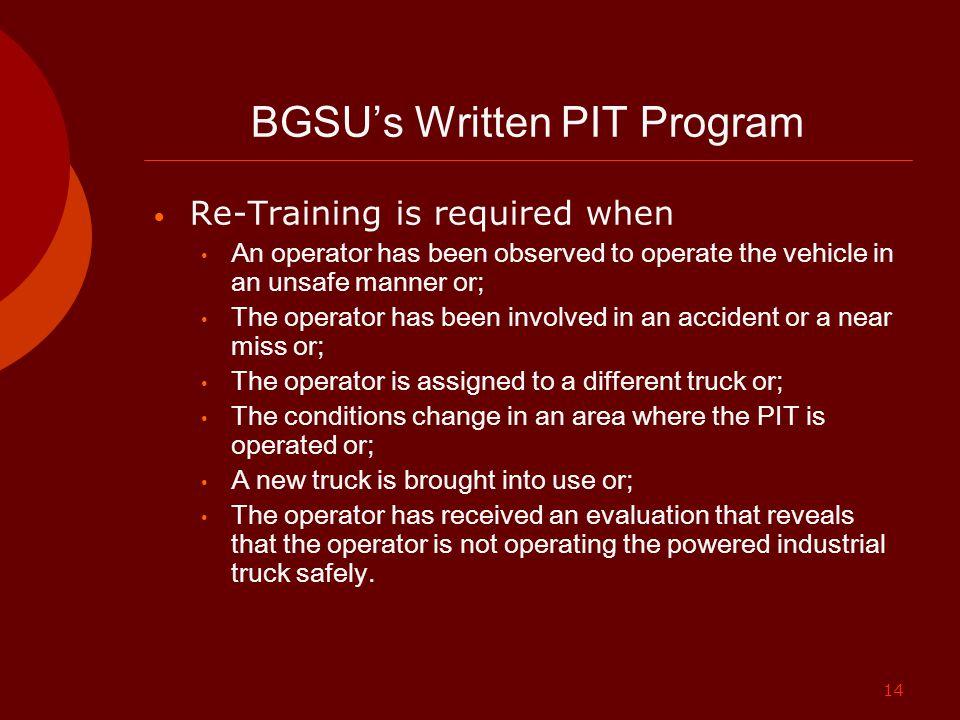 BGSU's Written PIT Program