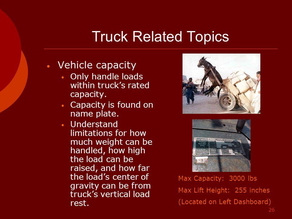 Truck Related Topics Vehicle capacity