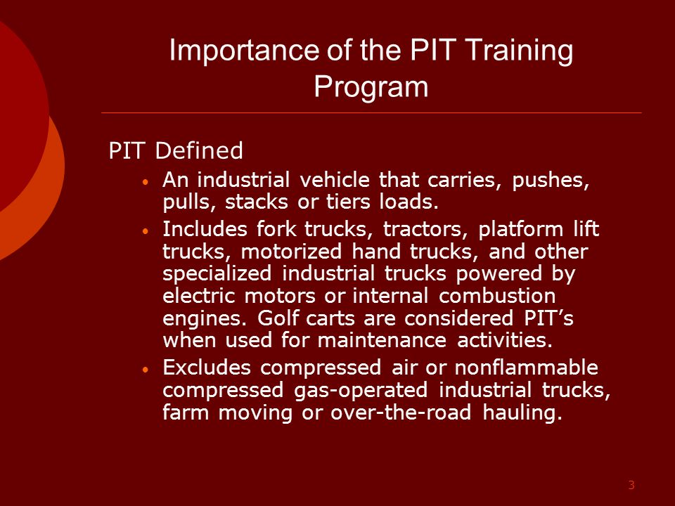 Importance of the PIT Training Program