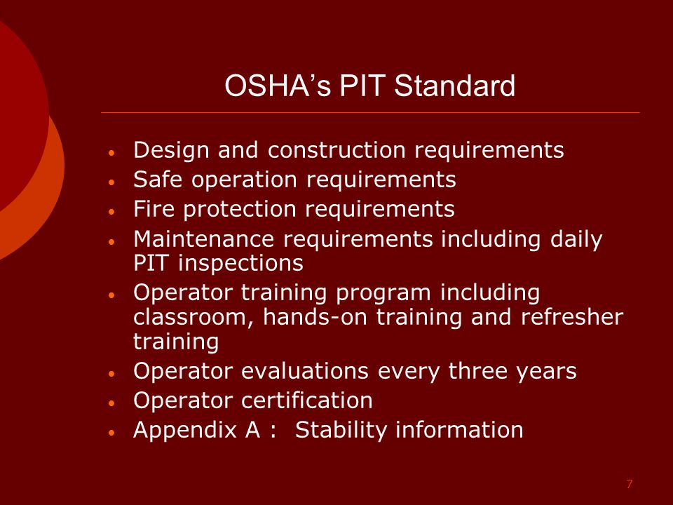 OSHA's PIT Standard Design and construction requirements