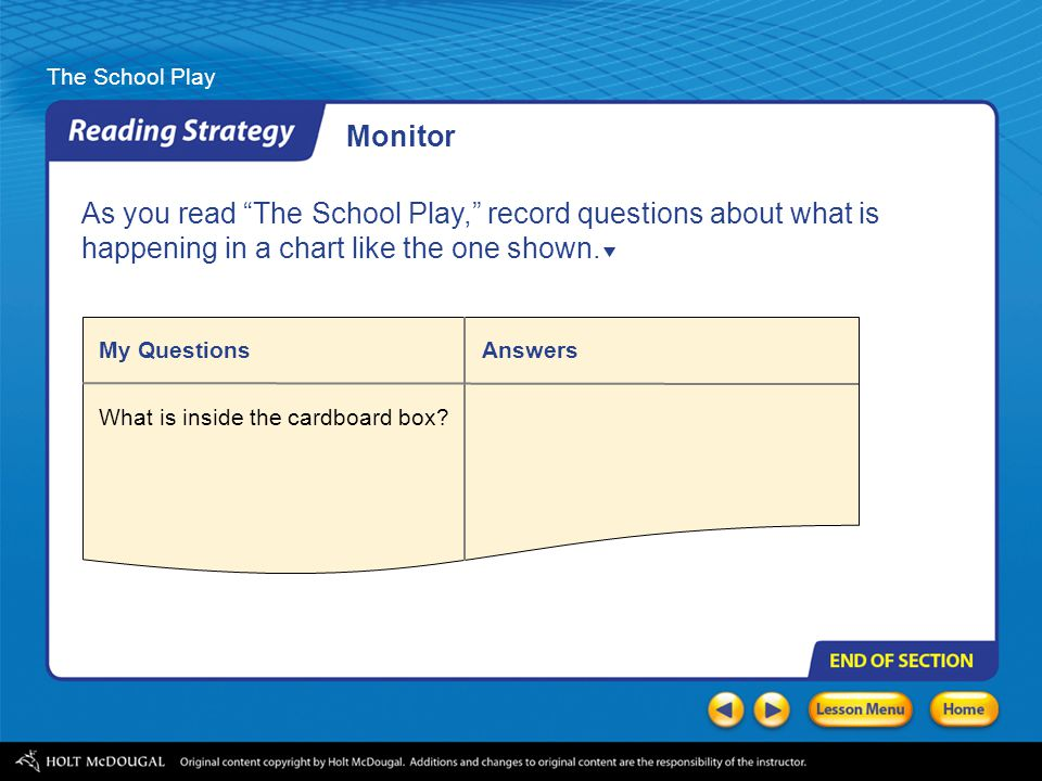 Monitor As you read The School Play, record questions about what is happening in a chart like the one shown.