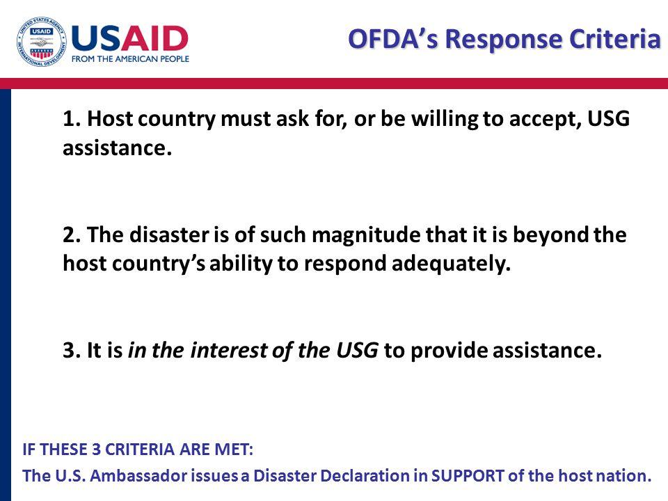 OFDA's Response Criteria