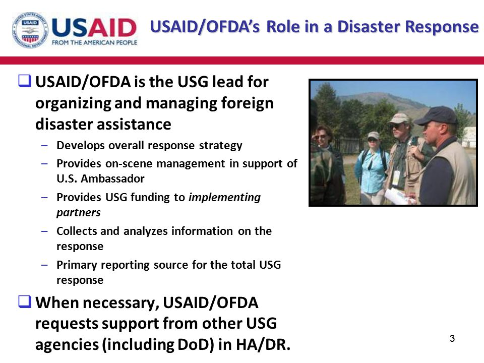 USAID/OFDA's Role in a Disaster Response