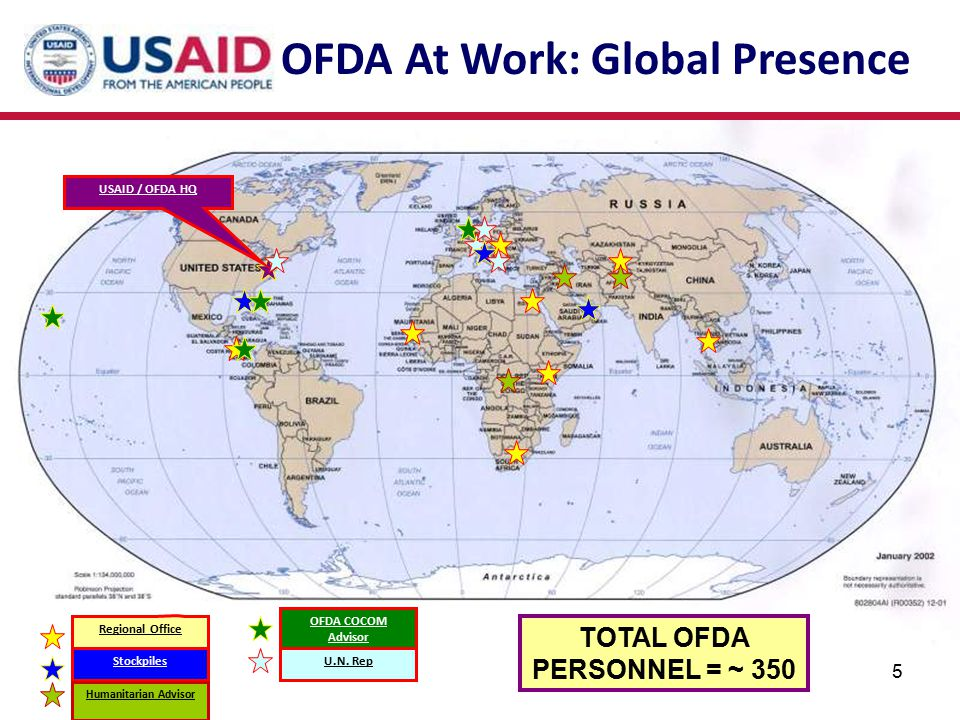 TOTAL OFDA PERSONNEL = ~ 350