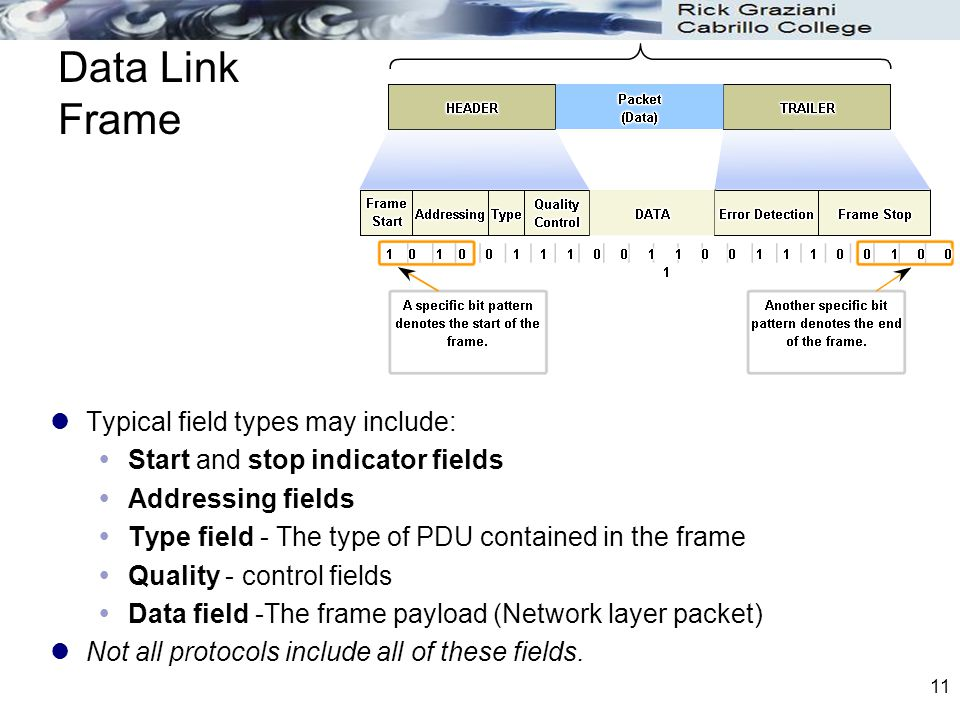 Data Link Frame Typical field types may include: