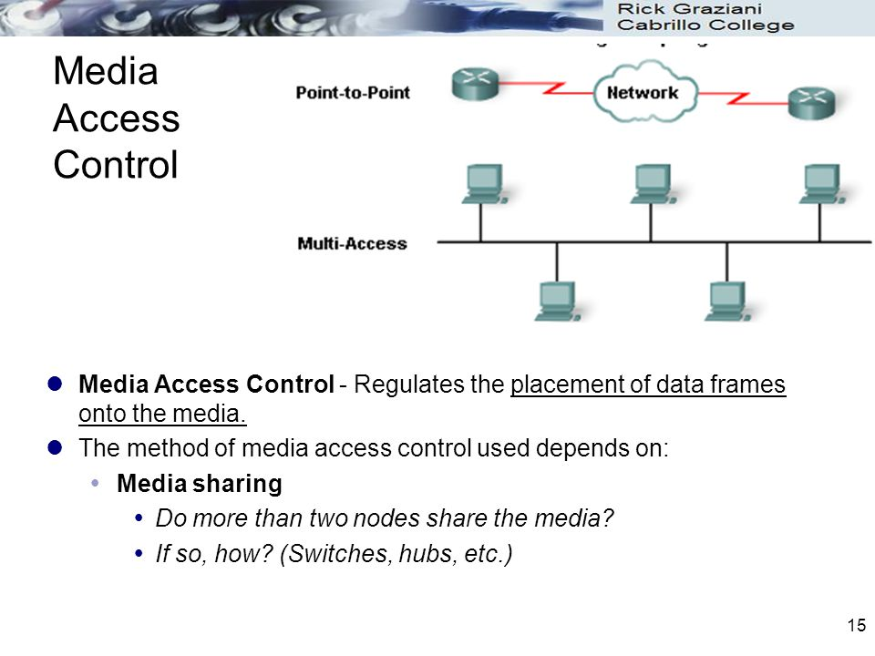 Media Access Control Media Access Control - Regulates the placement of data frames onto the media.