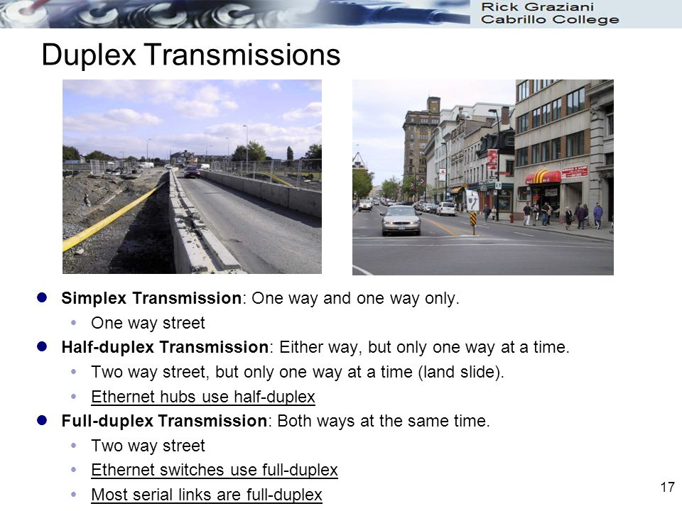 Duplex Transmissions Simplex Transmission: One way and one way only.