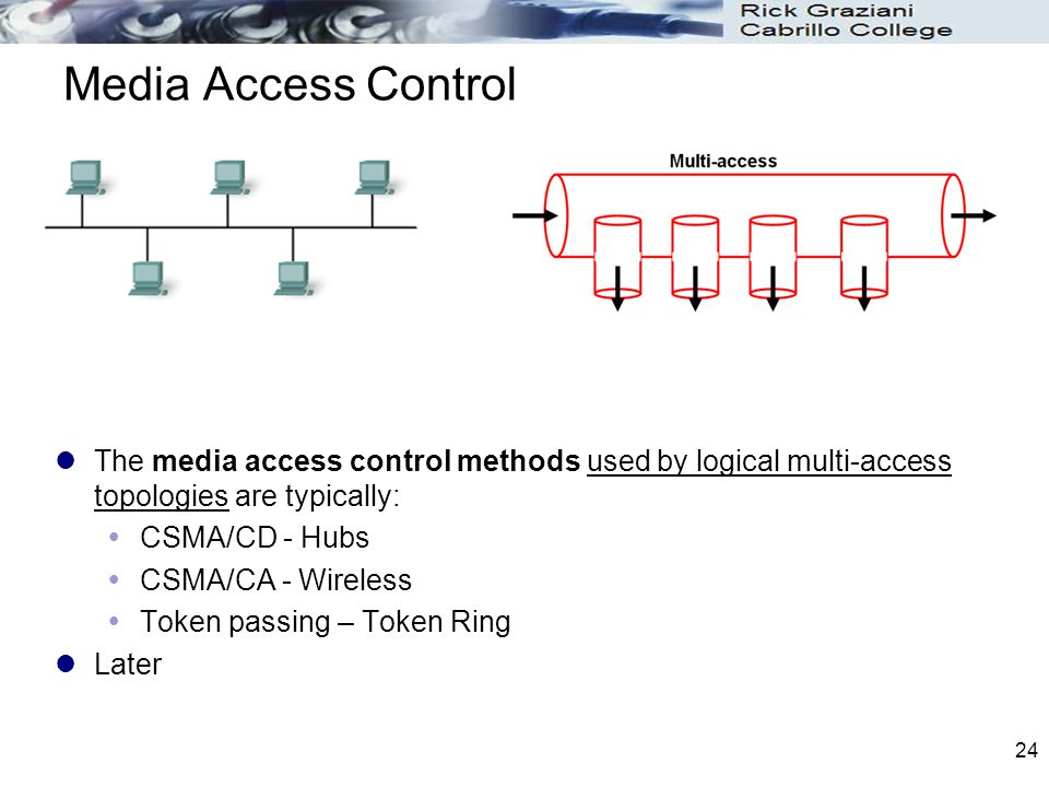 Media Access Control The media access control methods used by logical multi-access topologies are typically: