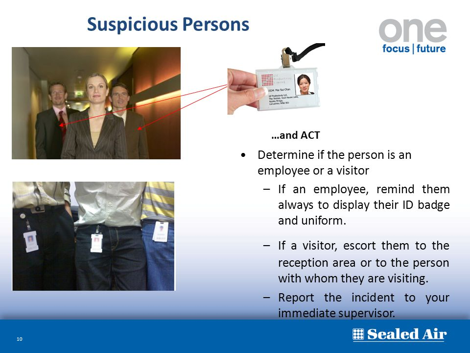 Suspicious Persons Determine if the person is an employee or a visitor