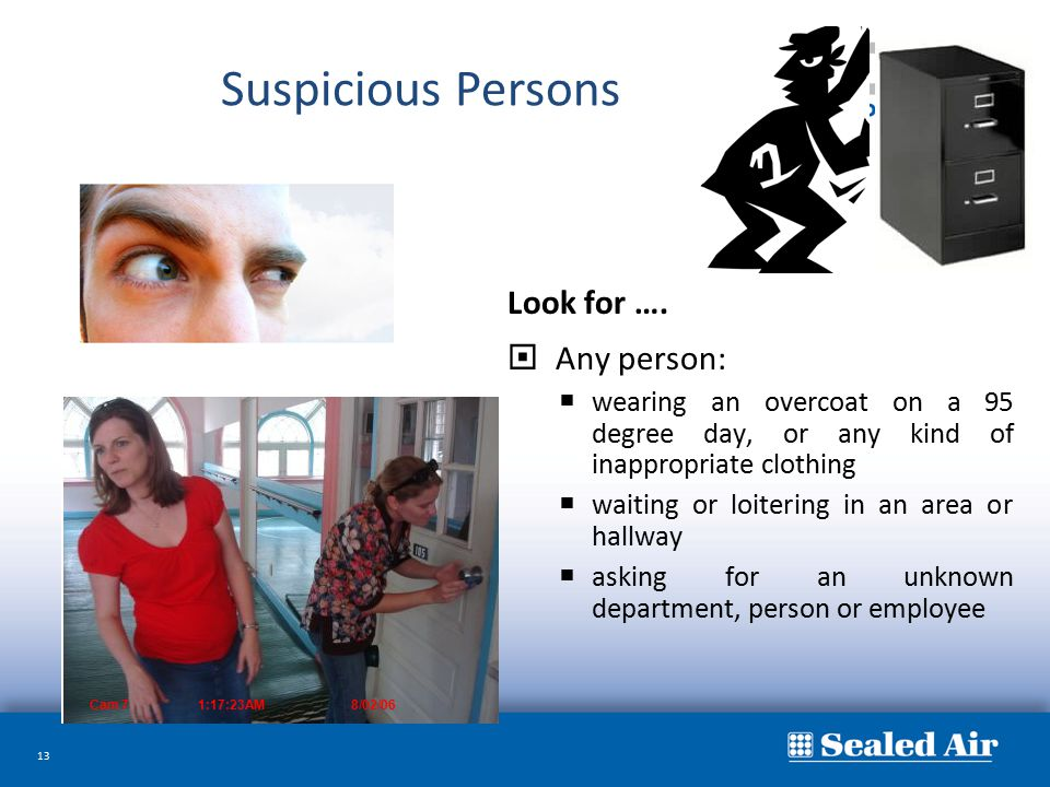 Suspicious Persons Look for …. Any person: