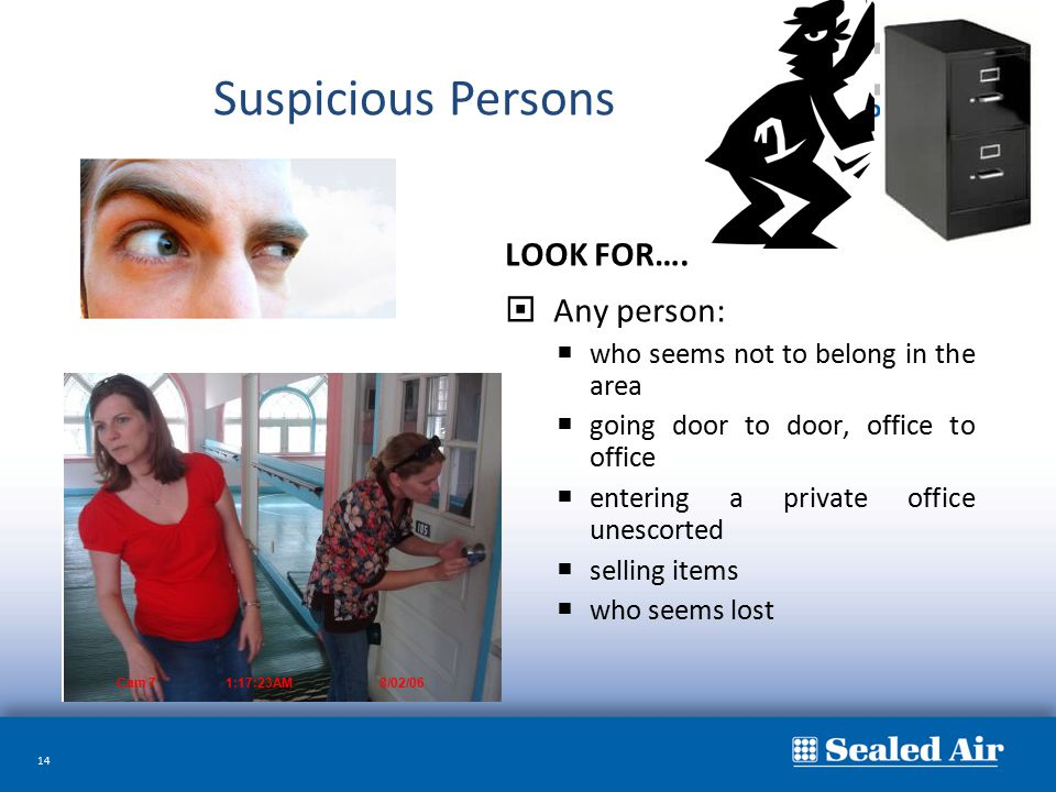 Suspicious Persons LOOK FOR…. Any person: