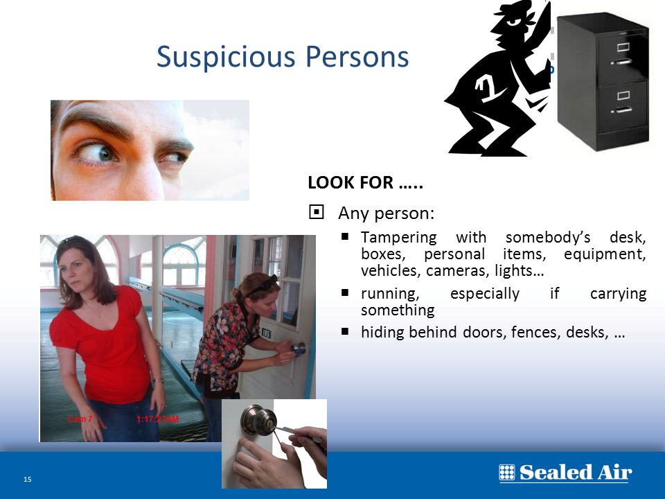 Suspicious Persons LOOK FOR ….. Any person: