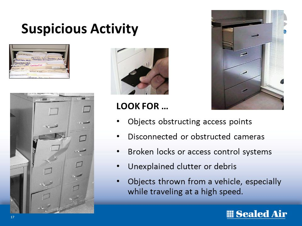 Suspicious Activity LOOK FOR … Objects obstructing access points