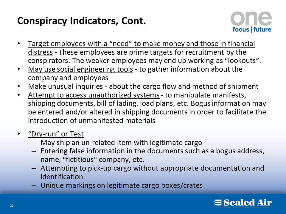 Conspiracy Indicators, Cont.