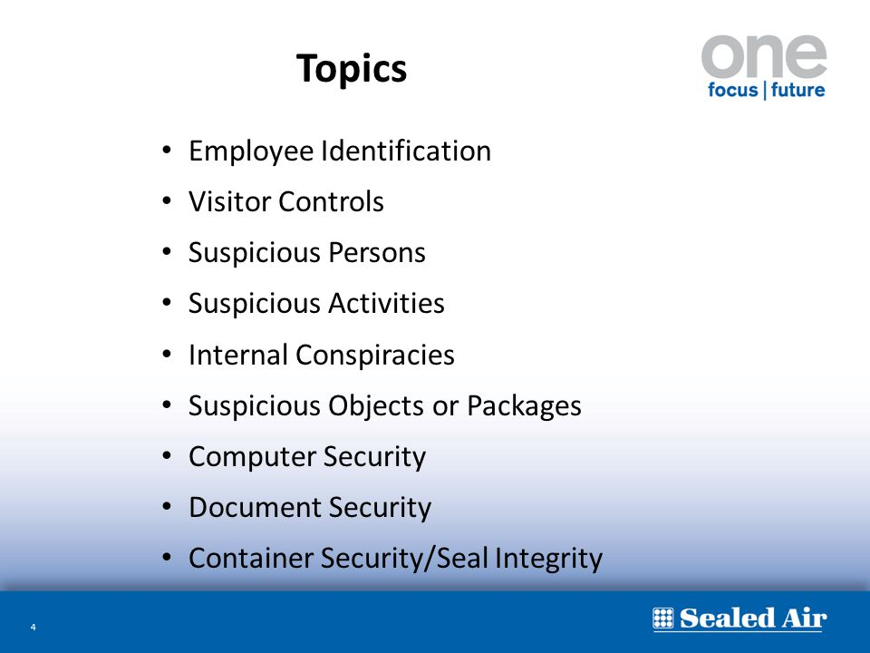 Topics Employee Identification Visitor Controls Suspicious Persons