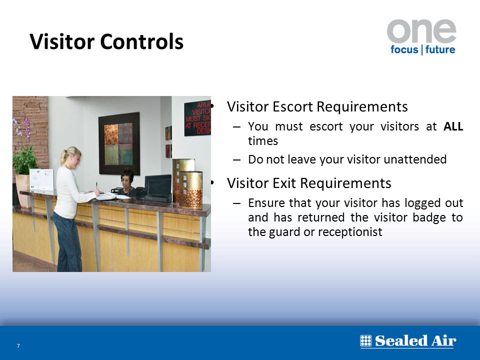 Visitor Controls Visitor Escort Requirements Visitor Exit Requirements