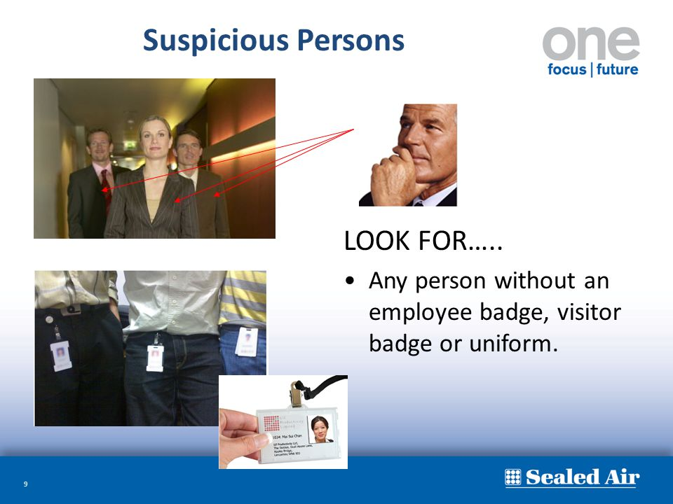 Suspicious Persons LOOK FOR…..