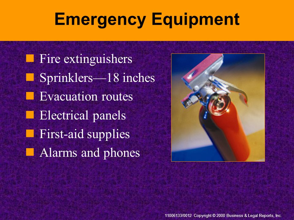 Emergency Equipment Fire extinguishers Sprinklers—18 inches