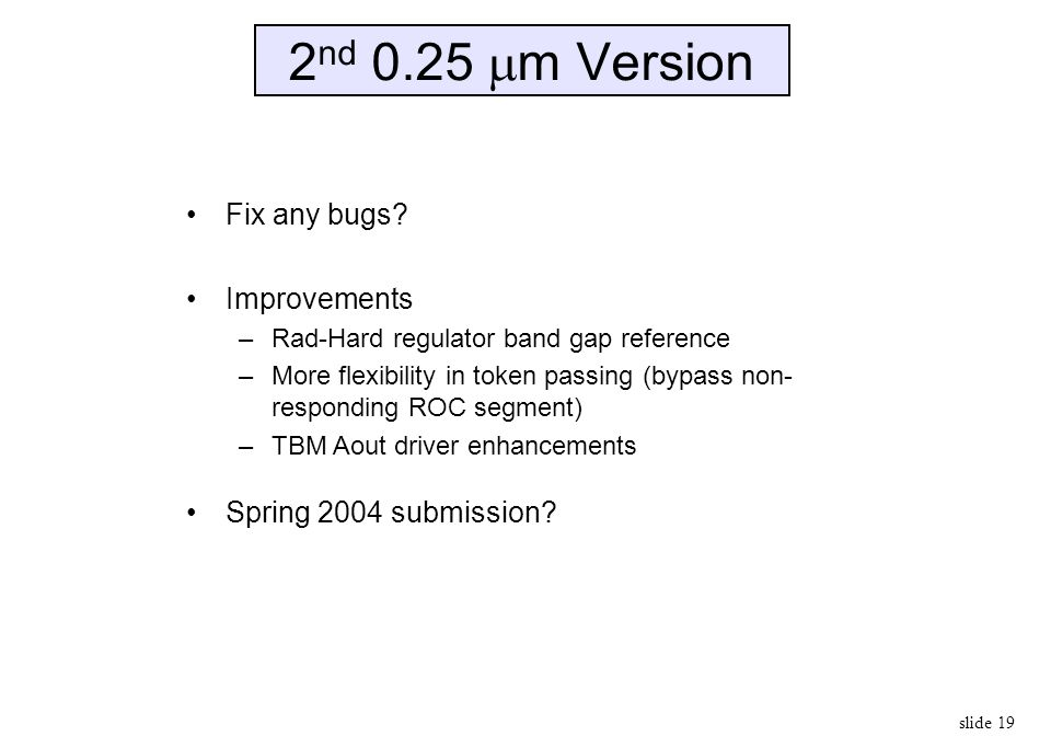 2nd 0.25 m Version Fix any bugs Improvements Spring 2004 submission