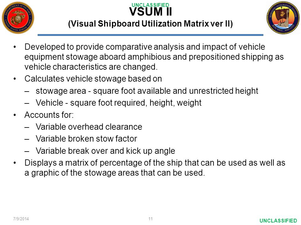 VSUM II (Visual Shipboard Utilization Matrix ver II)