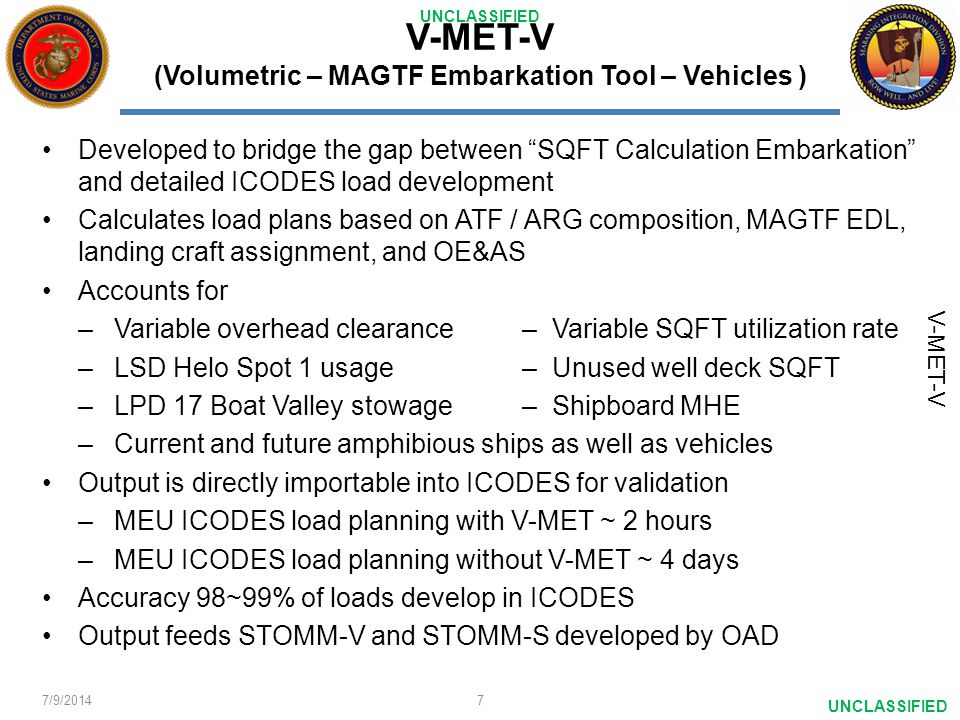 V-MET-V (Volumetric – MAGTF Embarkation Tool – Vehicles )