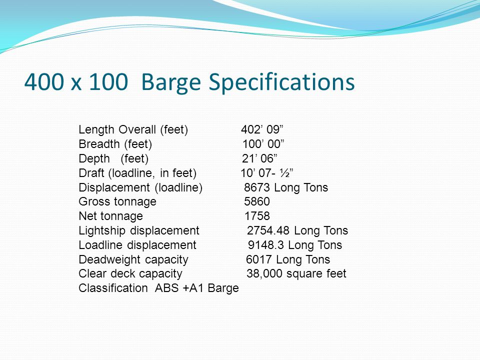 400 x 100 Barge Specifications