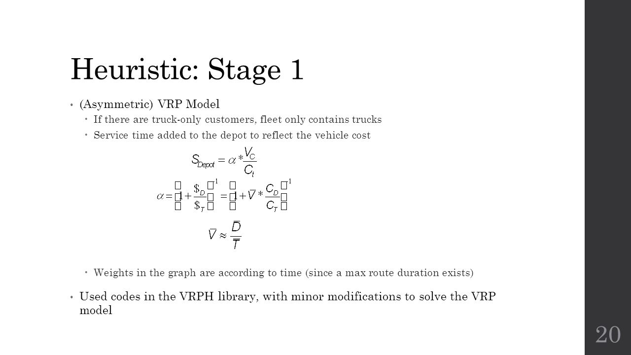 Heuristic: Stage 1 (Asymmetric) VRP Model