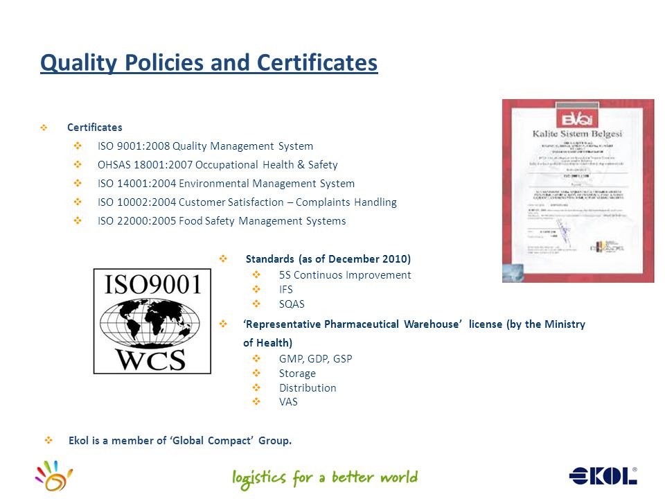 Quality Policies and Certificates