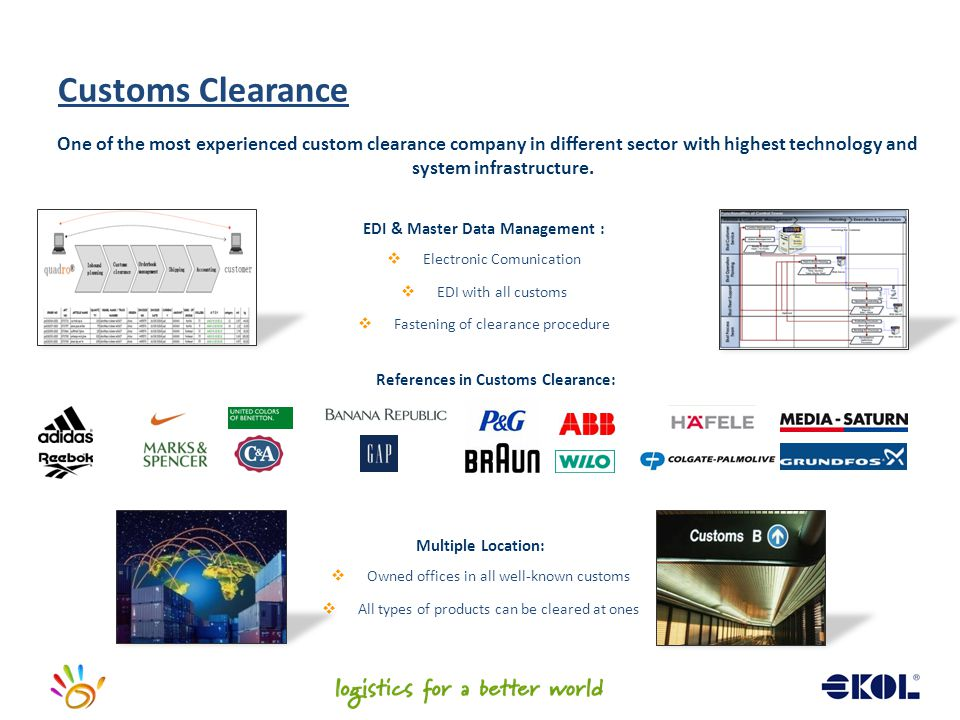 EDI & Master Data Management : References in Customs Clearance: