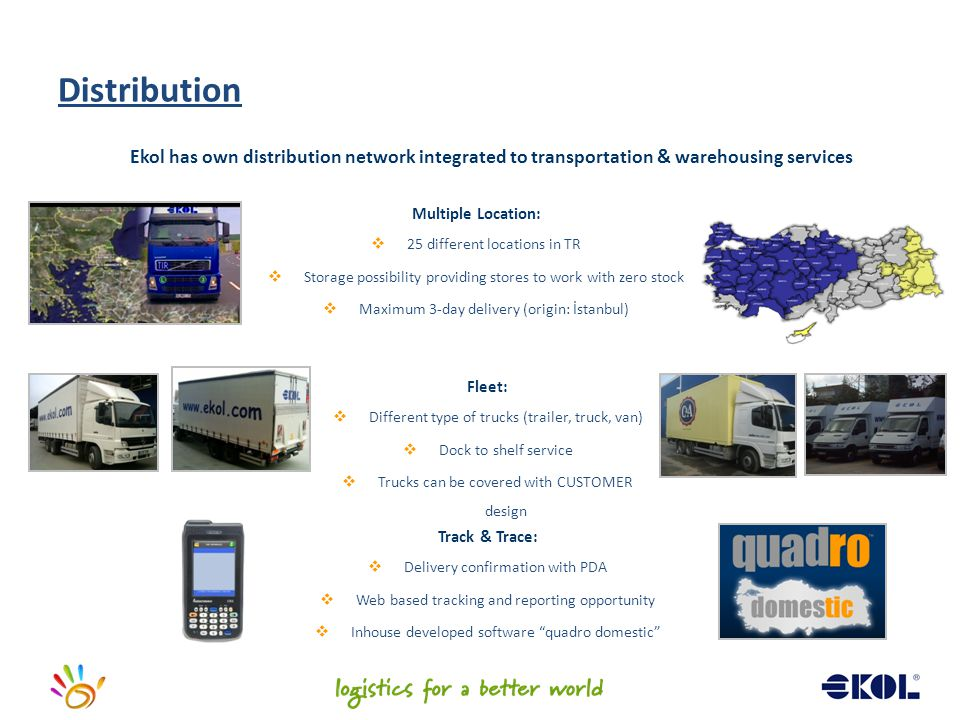 Distribution Ekol has own distribution network integrated to transportation & warehousing services.