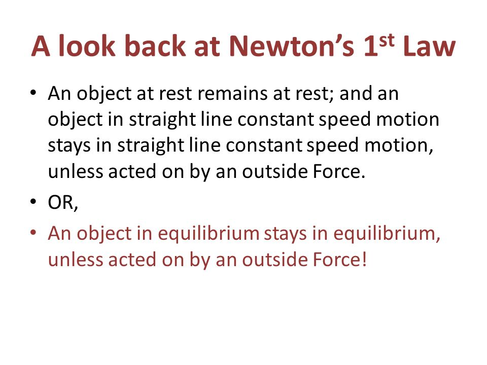 A look back at Newton's 1st Law